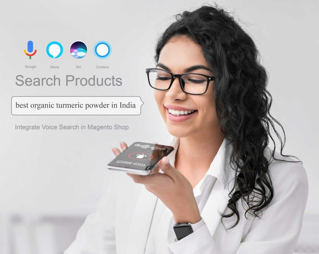 businesswoman-using-smartphone-voice-search-magento