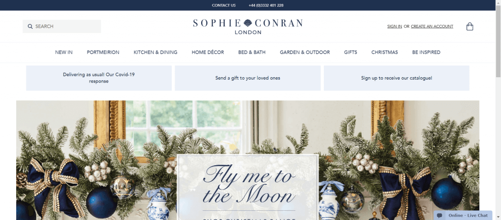 Sophie Conran site homepage