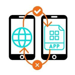 mobile website can be an app but not vice versa