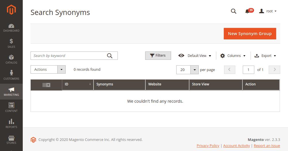 Create New Synonym Group Magento