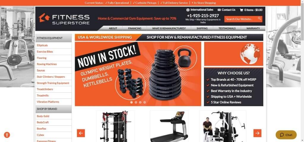 fitness superstore site screenshot